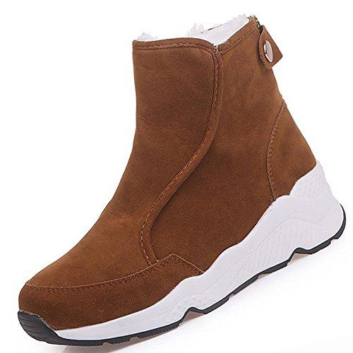 HSXZ Scarpe donna pu inverno Comfort stivali Null Round Flat Toe Mid-Calf Null Stivali / per esterno Nero Marrone Black