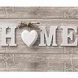 decomonkey Fototapete Home Haus 250x175 cm XL Design Tapete Fototapeten Vlies Tapeten Vliestapete Wandtapete moderne Wand Schlafzimmer Wohnzimmer Holz Herz grau weiß grau vintage retro FOB0262a5XL