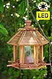 Futterhaus - Vogelhaus *ohne / mit Beleuchtung LED-Leuchte Garten,Vogelhäuschen Garten mit 6 x Futterdosierer und Silo,Nistkasten GEFLAMMT,gefla NEU Futterfläche,/ HOLZHAUS-GEFLAMMT,-Vogel Nistkasten,Vogel MIT-Futterstation Farbe geflammt gebrannt (schwarz/natur)