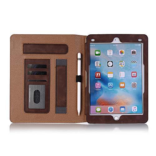 Yimiky iPad 9.7 Hülle Stoßfest, Premium PU Leder Buchcover Smart Ständer Slim Fit Hartschale mit Kartensteckplatz und Handschlaufe für iPad Air/Air 2/Pro 9.7/2017 / 2018 Neues iPad (Dunkelbraun) - Ipad Air Handschlaufe