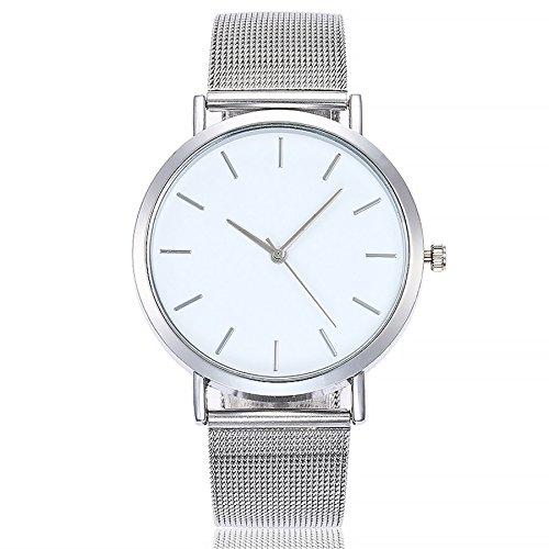 Altsommer Edelstahl Mesh Business Fashion Armbanduhr Armbanduhren Unisex Armbanduhr Damen Herren Uhr mit 4cm Gehäuse Durchmesser,Damen-Uhr mit Marmor Zifferblatt Armband,Silver (Silver)