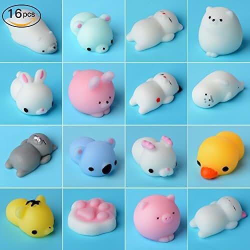juguetes kawaii PovKeever 16pcs Animal Squishy Lento Levantamiento de Juguete, Mini Suave Suave y Elástico Stress Relief Kawaii Squeeze Juguetes para Niños Niños, Color aleatorio