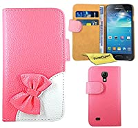 Samsung Galaxy S4 Case, FoneExpertŽ Cute Butterfly bow Premium Leather Wallet Flip Case Cover For Samsung Galaxy S4 i9500 i9505 + Screen Protector & Cloth (Baby pink)