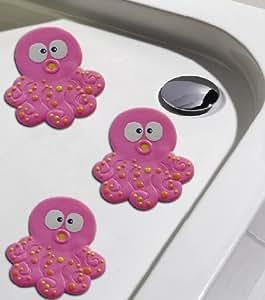 Antirutschpad Timmy Qualle rosa Rutschstopper für Badewanne und Dusche Ø 12cm 6er Set
