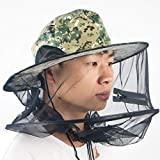 LGQBH Uomini Protezione di Pesca di Controllo dei parassiti Cappuccio Antipolvere Cappello da Sole/Velo/sottogola Corda Vento Morbido/Pieghevole/Ventilazione/Sole/cap UV, Estivo all'aperto Corsa