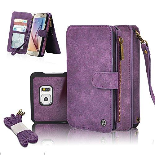 Cornmi Housse portefeuille en cuir pour Galaxy S6Edge avec 14 fentes pour cartes de crédit fermeture magnétique fermeture éclair et sangle violet