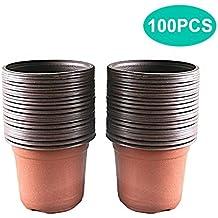 100 macetas de plástico de 10 cm para plantas de guardería, macetas, plantas,