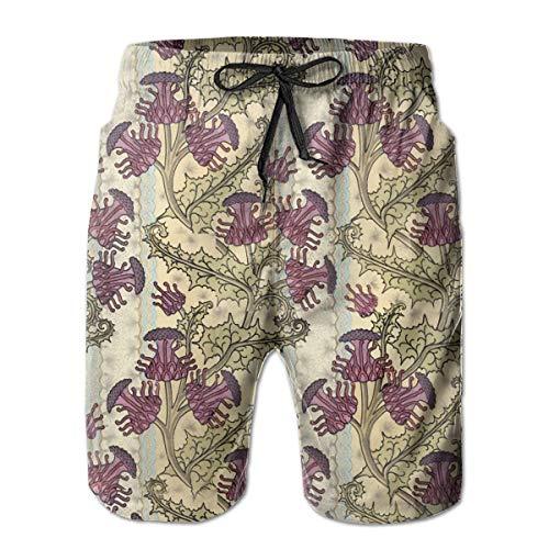 BAOQIN Strand Shorts,Men Swim Trunks Nouveau Purple Thistle Flower Beach Wear Board Casual Sports Shorts Quick Dry Swim Briefs for Summer Purple Thistle