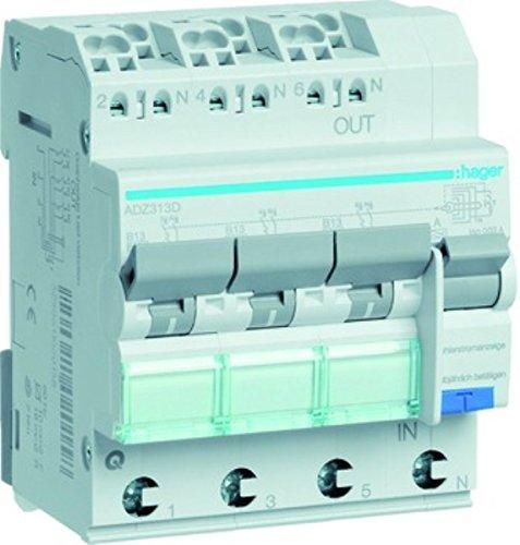 Hager FI/LS-Schalter ADZ313D 3X 1P+N, 6 kA Kombination FI-Schalter/Leitungsschutzschalter 3250611020141