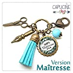 Porte clés - bijou de sac Maîtresse - Bronze et cabochon verre illustré Super Maîtresse - idée cadeau maîtresse, cadeau...