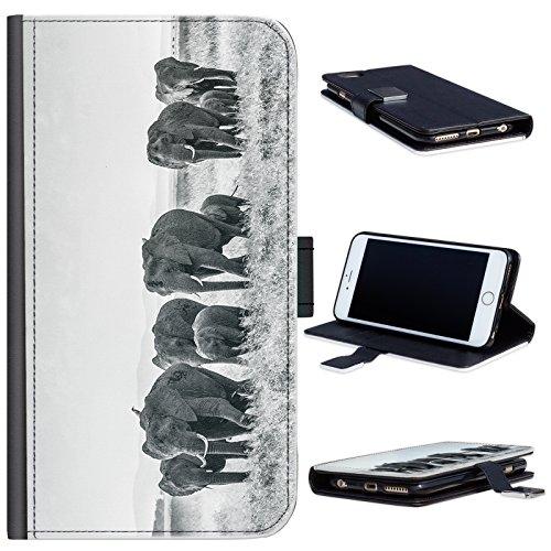Hairyworm - BG0181 Gruppe von Elefanten in schwarz und weiß HTC One M7 Leder Klapphülle Etui Handy Tasche, Deckel mit Kartenfächern, Geldscheinfach und Magnetverschluss. HTC 1 M7 Fall Handy-fall, Htc M7