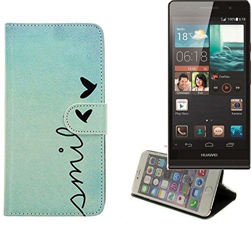 K-S-Trade® Für Huawei Ascend P6 Hülle Wallet Case Schutzhülle Flip Cover Tasche Bookstyle Etui Handyhülle ''Smile'' Türkis Standfunktion Kameraschutz (1Stk)