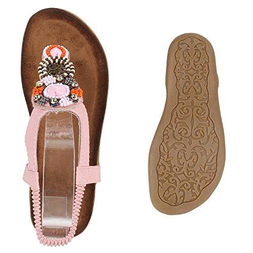 Damen Sandalen Zehentrenner Strass Blumen Flats Schuhe Lederoptik Rosa Rosa