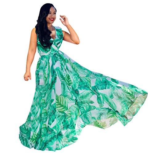 TPulling Damen Bedrucktes Strandkleide  Sommerkleid Lange Kleider Ärmellos Partykleid Festliches Kleid (Grün, L)