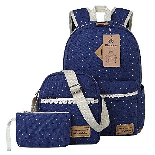 Imagen de  lona mujer  escolar casual para chicas backpack for girls 3pcs azul