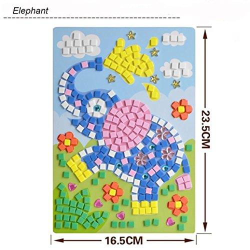 GreatestPAK Kids DIY Mosaic Diamond Sticker Jigsaw, Animals Pattern Art Kits Educational Puzzle Funny Creative Toys, Gift for Baby Birthday Age 3-9 Years Old (Elephant)
