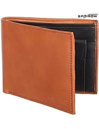SPAIROW Men's Genuine Leather Wallet (W-101) TAN::BLACK