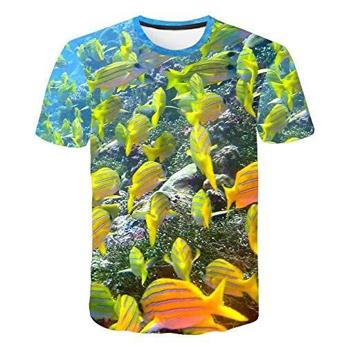 GJCDGPZTX 3D T-Shirt Das Meer, Der Fisch, 3D-T-Shirts, Herrenbekleidung.Sommerkleid.Kurze Ärmel, Sommerkleidung, Freizeitkleidung.Drucken