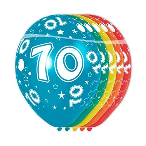 5 Globos 70 Cumpleaños Número 70 Diversos Colores de 30 cm