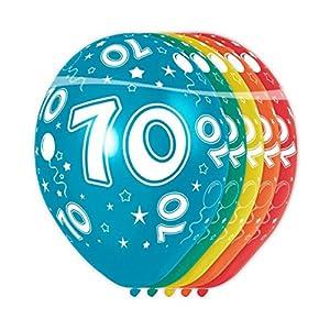 Folat - Globos con el número 70 (5 unidades, aptos para helio)