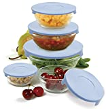 #8: EleWa Glass Storage Bowl Set with Coloured Lid (Pack of 5 Pieces)