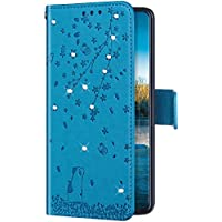 Uposao Funda con Tapa para Samsung Galaxy J6 Plus 2018 Cuero Piel Sintética,Bling Glitter Purpurina Diamante Funda Flores de Cerezo Gato Patrón Billetera Bookstyle Flip Case Carcasa Caja Teléfono,Azul