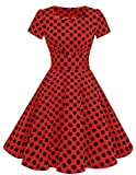 Dresstells Damen Vintage 50er Rockabilly Kurzarm Swing Kleider Partykleid Red Black Dot 2XL
