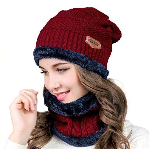 MUCO Wintermütze Damen Herren Unisex Warm gestrickt Dick Draussen Warmem Winter Mütze Schal Set für Männer und Frauen