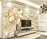 LONGYUCHEN Benutzerdefinierte 3D Wandbild Tapete Kreative Muster Goldene Juwelen Geeignet Für Café Schlafzimmer Hotel Wohnzimmer Wohnkultur Seidenwandbild,260Cm(H)×420Cm(W)