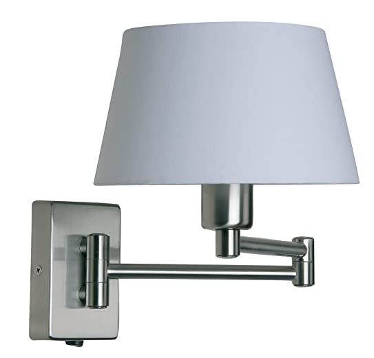 Armada Double Swing Arm Wall Light Satin Chrome Finish ( Lampshade Extra ):  Amazon.co.uk: Lighting - Armada Double Swing Arm Wall Light Satin Chrome Finish ( Lampshade