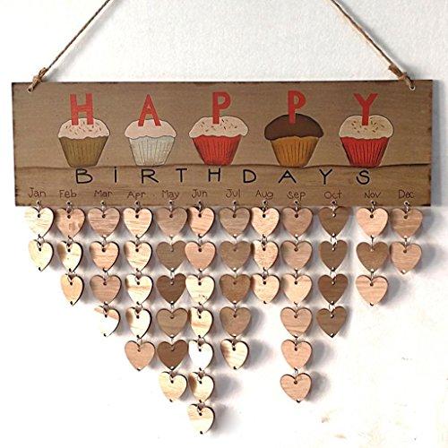 Highpot Creative Holz Kalender Geburtstag Reminder Board Wand Kalender DIY Home Decor 40cm*12cm Thick:0.5cm C (Wand-kalender-string)