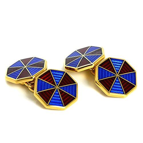 Gold Blau & Grün Emaille Sternenregen Doppelseitig Kette Oval Manschettenknöpfe