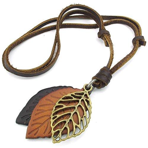 Collar - TOOGOO(R) collar de joyeria de hombres mujeres, hoja, tamanos ajustables colgante de aleacion con cadena de cuero