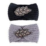 JNCH 2pcs Bandeau Cheveux Femme Fille Tricoté Laine Tressé avec Cristal Couvre Oreille Headband Serre Tête Headwrap Tricot Crochet Hiver Chaud Accessoire (Noir+Gris)