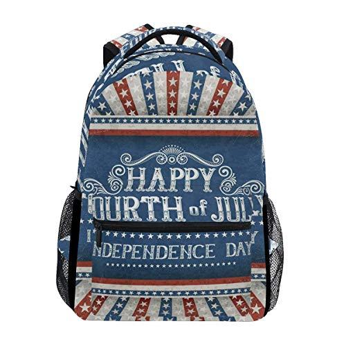 Patriotic Happy Fourth of July School Bag Travel Daypack Casual Shoulder College Bookbag Unisex