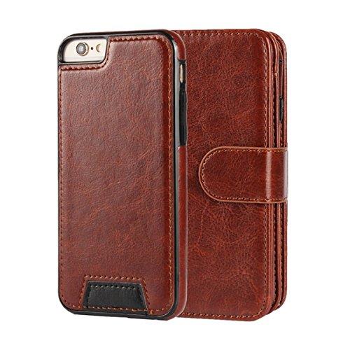 MOONCASE IPhone 6 / 6S (4.7 inch) Étui, Multifonction 2 en 1 détachables Housse en Cuir à rabat Coque de protection Folio Case avec Porte-cartes Fentes Fermeture Magnétique pour iPhone 6 / 6S (4.7 inc Brun