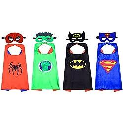 Kbnian Capas de Superhéroes, 4 Piezas Caras de Doble Cara y 8 Máscaras Disfraces de Superhéroe para Niños Regalos de Cumpleaños, Fiesta de Navidad de Halloween, Diseño de Cosplay, Juguetes para Niños
