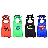 Best Disfraces de Halloween los niños Capitán América - Kbnian Capas de superhéroes, 4 piezas Caras de Review