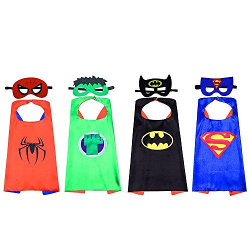 ostüme Superhero Cape und Masken, Kinder Dress up Kostüm Cosplay Mäntel Set doppelseitig Fleck für Party, Kinder Geburtstagsgeschenke, Halloween Weihnachts, Karneval, Kinderspielze (Dick Halloween Kostüme)