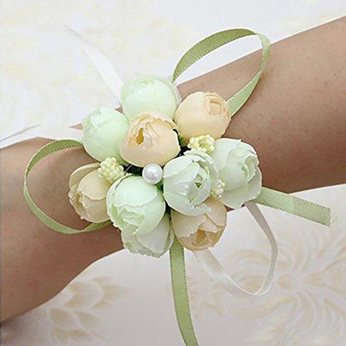 Minions boutique fatto a mano artificiale cinturino fiore bouquet per sposa damigelle cinturino bellissimo matrimonio decorazione fiori, champagne, 6 pezzi