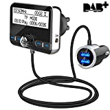 Auto DAB+ Digital Radio Bluetooth V4.2 QC3.0 Autoradio DAB+ mit FM Transmitter+Bluetooth Freisprecheinrichtung+Bluetooth Audio+MP3 Player DAB Car mit Dual USB Kfz Ladegerät/TF Play/Aux Out/2,4