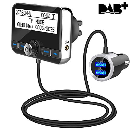 Auto DAB+ Digital Radio Bluetooth V4.2 QC3.0 Autoradio DAB+ mit FM Transmitter+Freisprecheinrichtung+Bluetooth Audio+MP3 Player DAB Car mit Dual USB Kfz Ladegerät/TF Play/Aux Out/2,4
