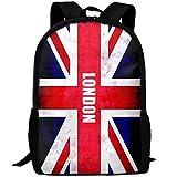 Deglogse Sac à Dos d'école, Cartable, London-UK-Flag-Union-Jack-UK Print Custom Casual School Bag Backpack Multipurpose Travel Daypack
