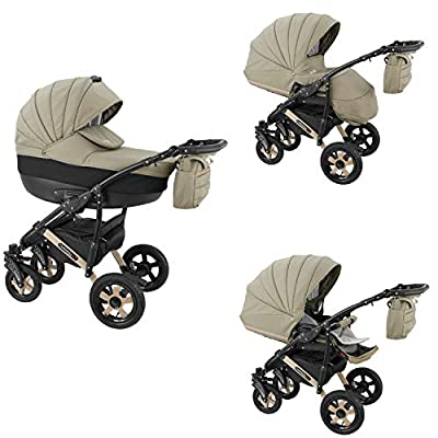 Lux4Kids Stroller Pram 2in1 3in1 Isofix Car seat 9 Colours Free Accessories Sev Desert XSE-3 3in1 with Baby seat
