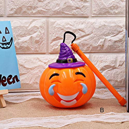 (TAOtTAO Halloween Kürbis Licht Lampe Voice-aktivierten Flashing Decor LED Laterne für Kinder (B))