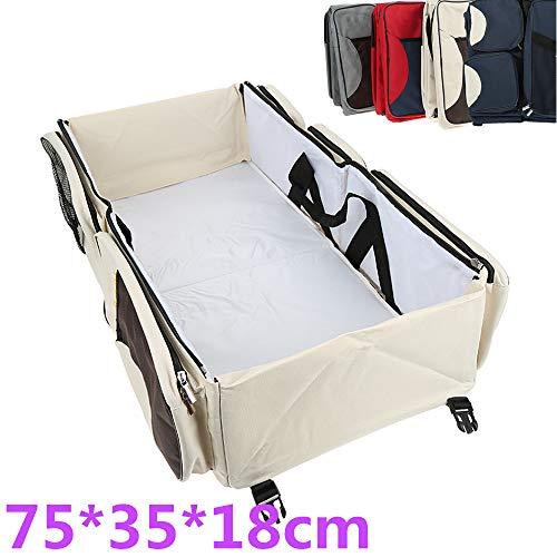 Sac à Langer 3en1 Bébé Maman Berceau Lit Portable Couffin Table à langer,75 * 35 * 18cm (Beige)
