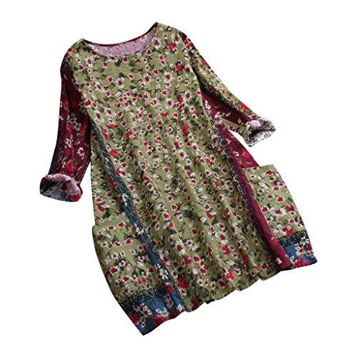 Xmiral Damen Bluse Top Oansatz Patchwork Zufällige Blumendruck Langarm Vintage Sweatshirt Mit Tasche(M,A-Grün)