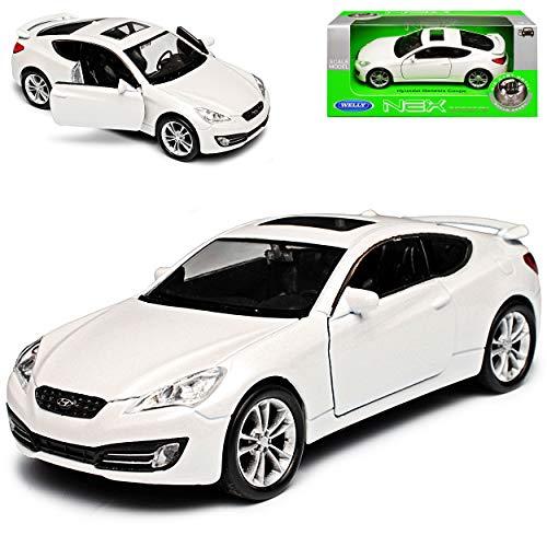 Hyundai Genesis Coupe Weiss 1. Generation Version 2008-2012 ca 1/43 1/36-1/46 Welly Modell Auto mit individiuellem Wunschkennzeichen