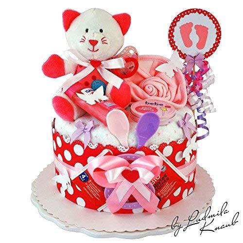 MomsStory - Windeltorte Mädchen | Katze | Baby-Geschenk zur Geburt Taufe Babyshower | 1 Stöckig (Pink-Weiß) mit Plüschtier Lätzchen Schnuller & mehr