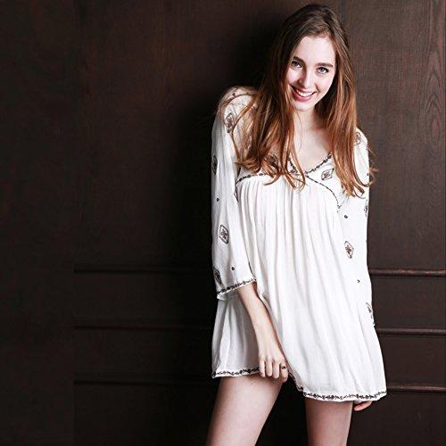 Biancheria Da Notte Da Donna Bohemians Impreziosito Ricamato Manica Lunga Vestaglia Bianco